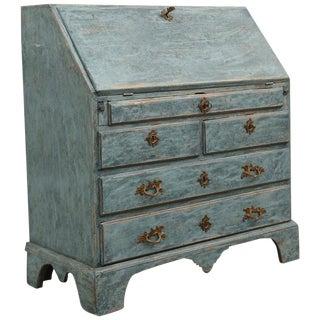 Antique Swedish Blue Slant Front Secretary Desk Early, 19th Century