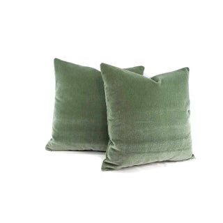 "Pollack Sedan Plush in Eucalyptus Pillow Cover - 20"" X 20"" Sage Green Heavy Velvet Cushion Case Preview"