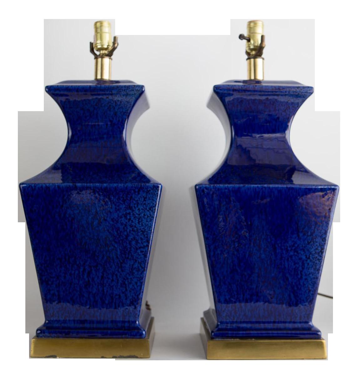 1960s Vintage Cobalt Blue Urn Table Lamps   A Pair
