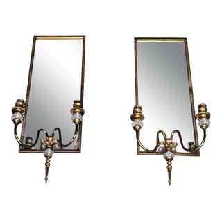 Louis XVI Style Brass Mirrored Sconces - a Pair For Sale