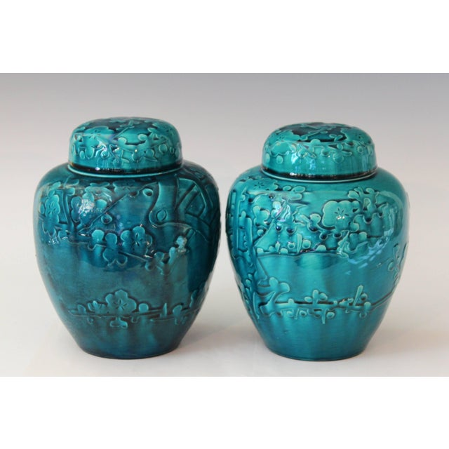 Turquoise Pair of Turquoise Awaji Pottery Ginger Jars, Covers Applied and Incised Prunus For Sale - Image 8 of 9