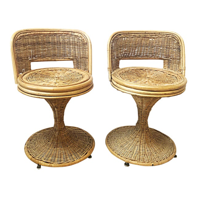 Swivel Wicker Stools - a Pair For Sale
