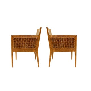Caned Lounge Chairs by Billy Baldwin - a Pair For Sale