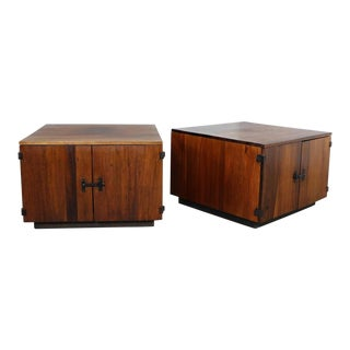 Pair Rosewood Mid Century Square End Table Cabinets For Sale
