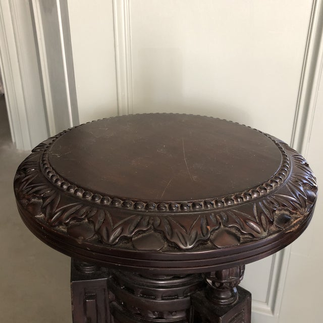 Indonesian Ornately Hand Carved Pedestal For Sale In Houston - Image 6 of 8