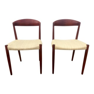 Mid-Century Modern Solid Teak Chairs - A Pair