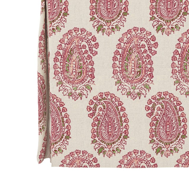 Not Yet Made - Made To Order Skirted Vanity Stool, Block Paisley Rosequartz Oga For Sale - Image 5 of 7