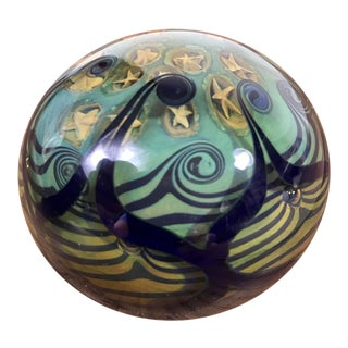 Vintage Millefiori Art Glass Paperweight With Spirals and Stars For Sale