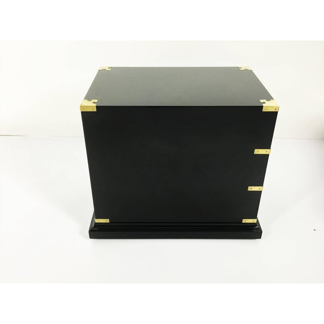 1930s Pair of Campaign Style Lacquered Side Tables For Sale - Image 5 of 10