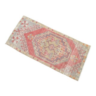 Hand Knotted Door Mat, Entryway Rug, Bath Mat, Kitchen Decor, Small Rug, Turkish Rug - 1′7″ × 3′3″ For Sale