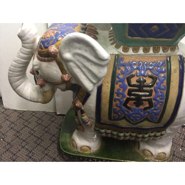 """Fantastic Elephant Garden Seat, in overall amazing condition, no chips or cracks. Circa 1950. This measures 23"""" wide x 10""""..."""