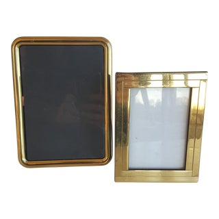 Vintage Brass Modernist Picture Frames - A Pair
