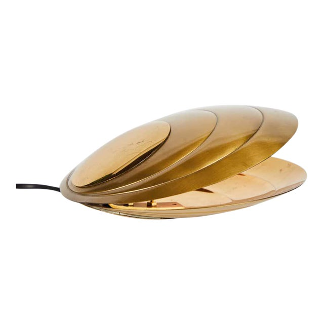 1960s Brass Clamshell Table Lamp by Angelo Brotto For Sale