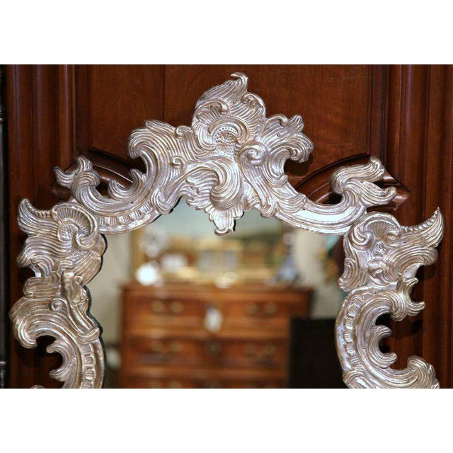 French Repousse Silvered Copper Vanity Mirror - Image 5 of 7