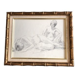 Original Vintage Double Female Nude Charcoal Study Drawing Signed For Sale