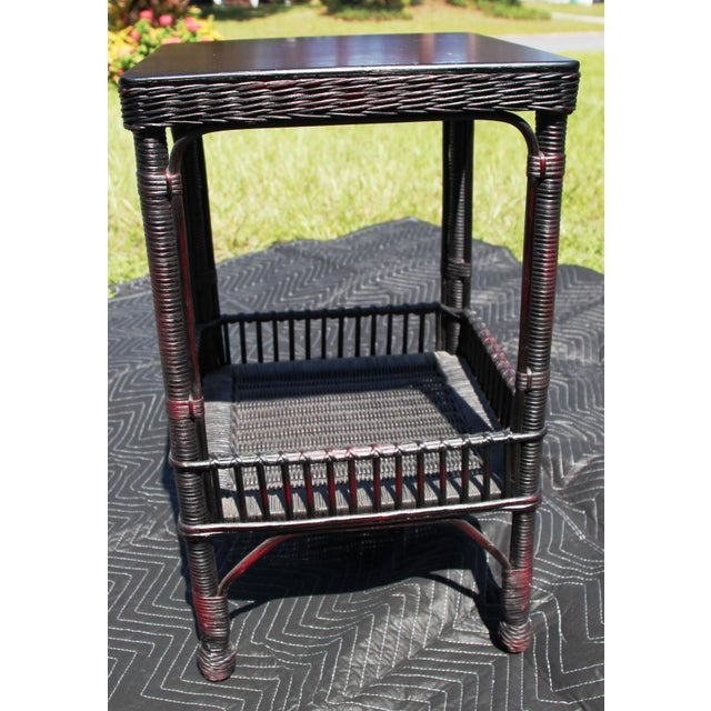 Wicker Boho Chic Palacek Rattan /Wicker Side Tables - a Pair For Sale - Image 7 of 8