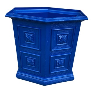 1960s Italian Provincial Blue Lacquered Wastebasket For Sale