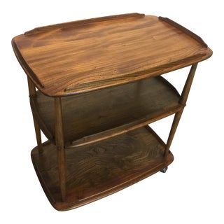 Mid-Century Solid Wood Bar Cart For Sale