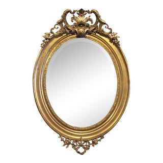 Large French Oval Bevelled Gilt Mirror For Sale