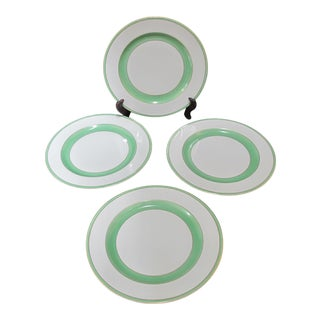 "Royal Bavarian Hutschenreuther Selb Green & Gold 9.5"" Gilt Plate Set of 4 For Sale"