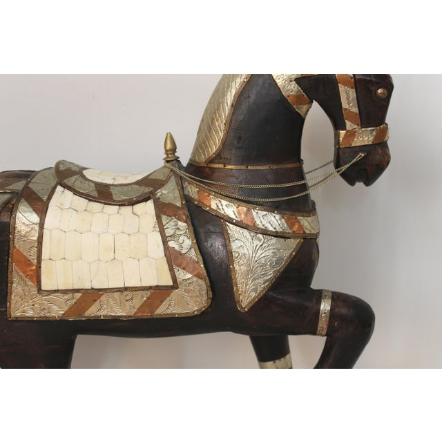 Vintage Mid-Century Tang Style Wood and Metal Horse Sculpture For Sale - Image 10 of 13