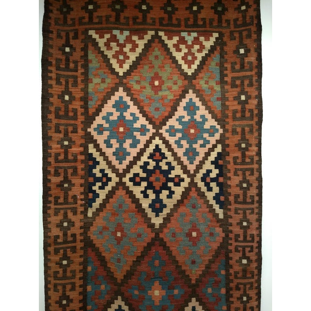 Mid-Century Modern Persian Flat Woven Kilim Runner - 2′10″ × 12′3″ For Sale - Image 3 of 13
