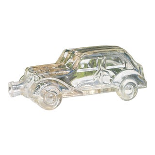 1940s Antique French Handmade Blown Glass Car Bottle For Sale