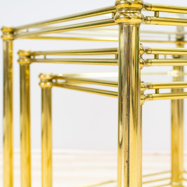 Italian Brass & Glass Nesting Tables - Set of 3 - Image 10 of 11