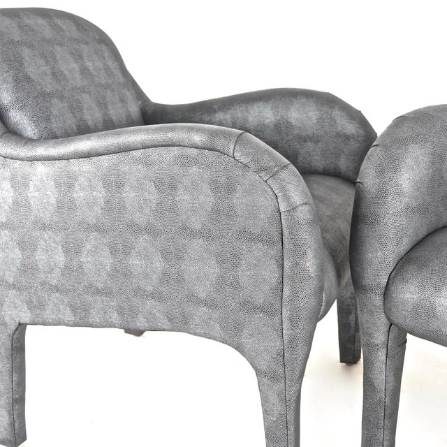 Silver Pair of 1980s Armchairs in Metallic Faux Shagreen For Sale - Image 8 of 10