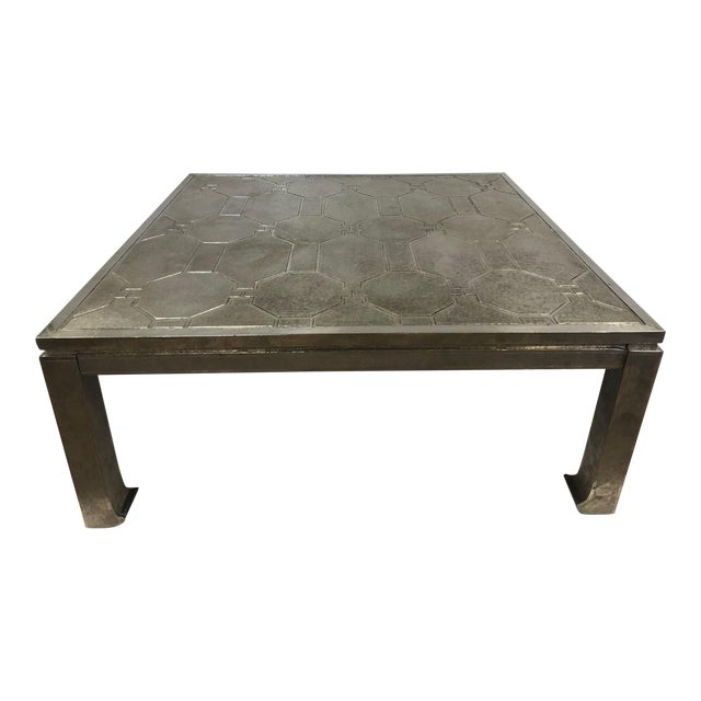1970s Modern Silver Clad Coffee Table For Sale