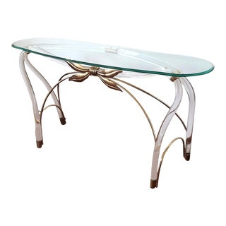 Large Organic Glass Brass & Lucite Mid Century Modern Console Table, Spain 1970s For Sale