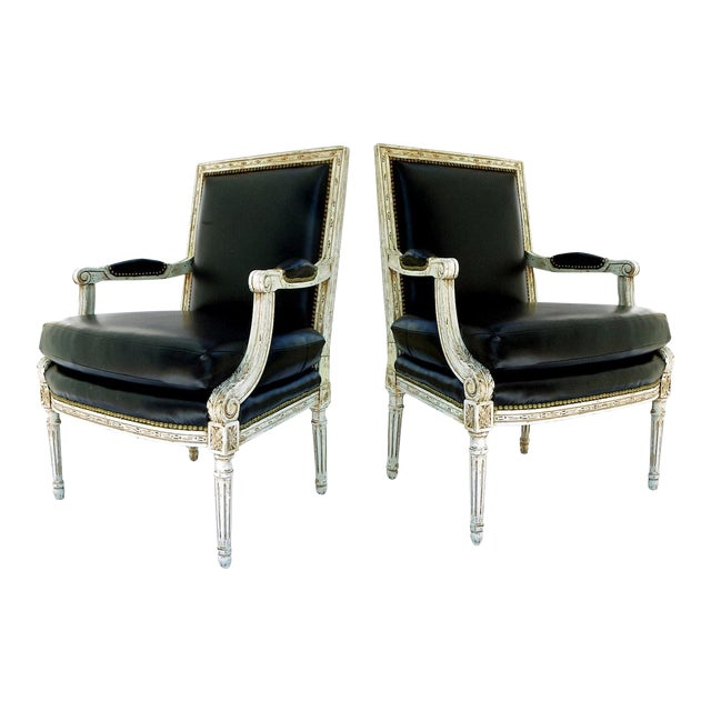 Vintage Black & White Louis XVI Bergere Chairs - A Pair - Image 1 of 9