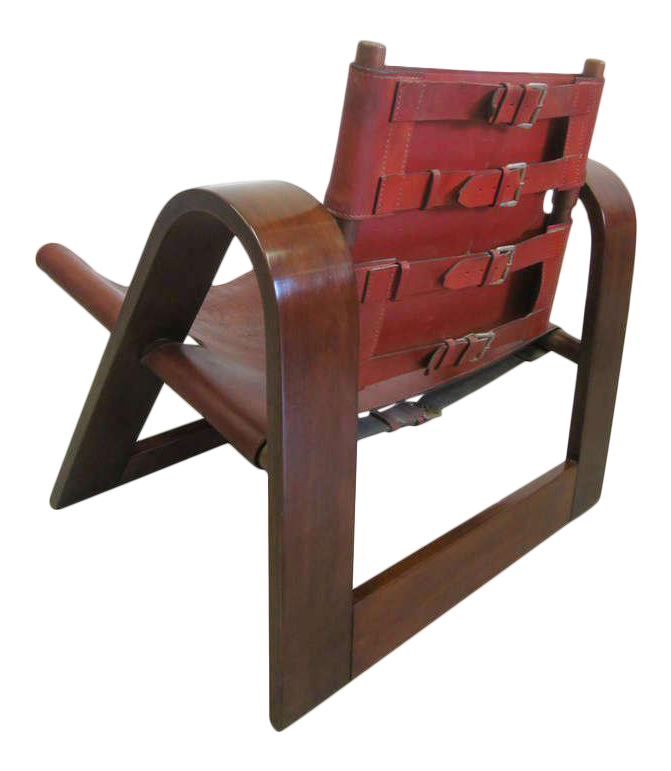 Bon Danish Mid Century Modern Leather Strap Chair Attributed To Borge Mogensen  For Sale