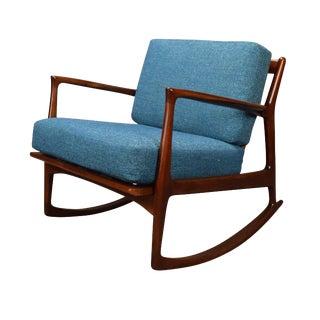 1960s Mid Century Modern Kofod Larsen for Selig Turquoise Cushion Walnut Rocking Chair