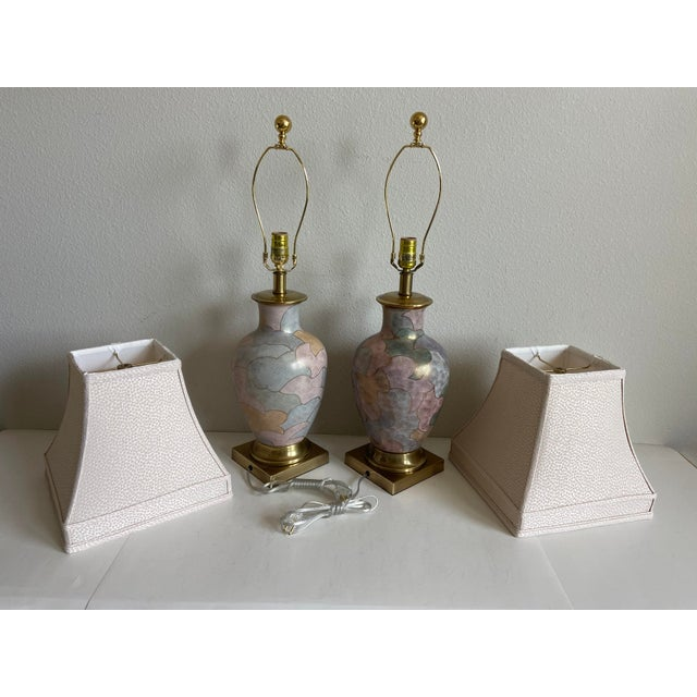 Pink 1960s Frederick Cooper Lamps & Shades - a Pair For Sale - Image 8 of 9