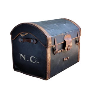 Antique Traveling Leather Trunk Preview
