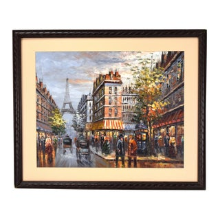 1970s Vintage Impressionistic Paris Scene Oil Painting