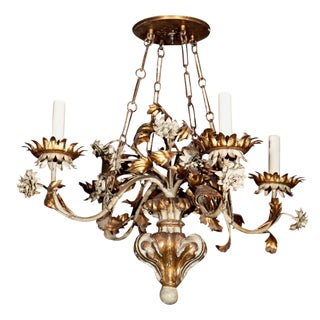 Gilt Wood & Tole Chandelier For Sale