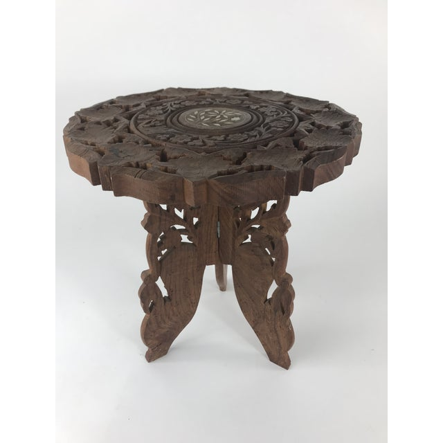 Brown 1980s Anglo-Indian Hand Carved Wood Plant Stand Table For Sale - Image 8 of 8