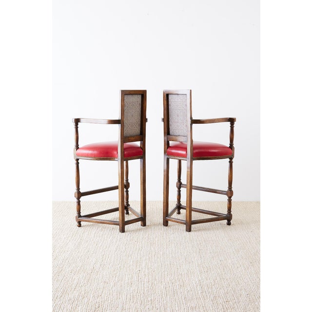Dennis & Leen Pair of Dennis Leen Walnut and Leather Bar Stools For Sale - Image 4 of 13