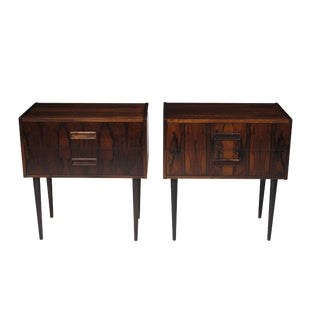 Danish Rosewood Nightstand Bedside Tables With Drawers - a Pair For Sale