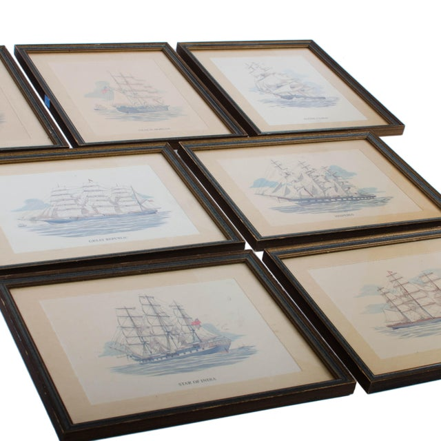 Vintage Sailing Ship Framed Print Collection - Set of 7 For Sale - Image 4 of 6