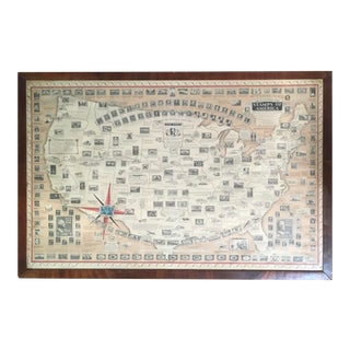 """1940s """"The Pictorial Map Stamps of America"""" Original Signed Ernest Dudley Chase Map, Framed For Sale"""
