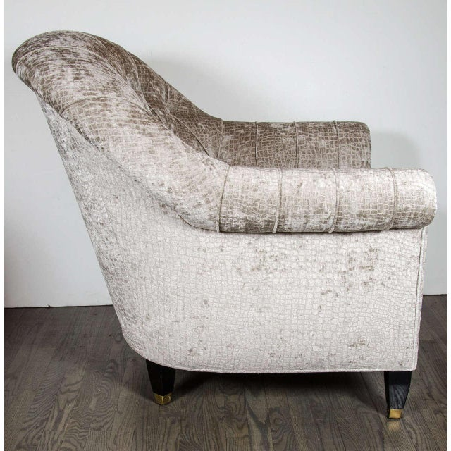 Mid-Century Modernist Tufted Button Back Club Chair For Sale In New York - Image 6 of 8