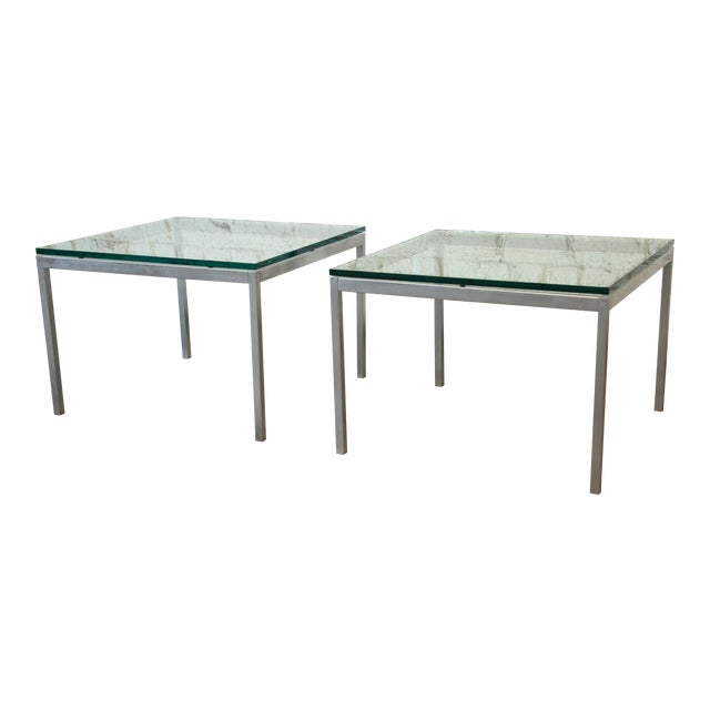 Florence Knoll Chrome & Glass Side Tables - a Pair - Image 1 of 7