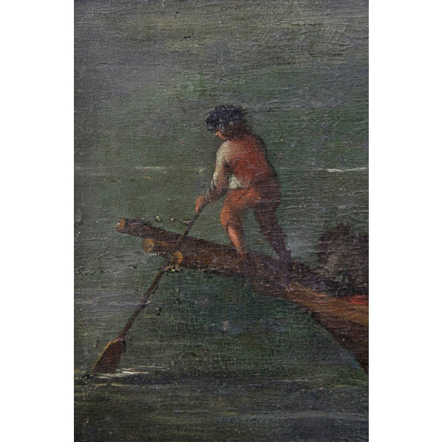 Canvas Flemish Oil on Canvas Painting of a Boat in Harbor For Sale - Image 7 of 11