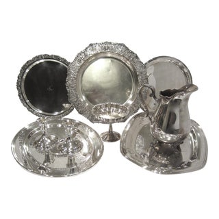 Vintage Silverplate Serving Pieces & Decor - Set of 9 For Sale