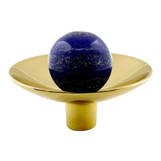 Addison Weeks Gibson Knob, Brass & Lapis For Sale