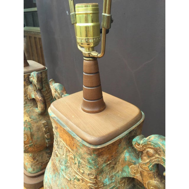 Asian Pair of Asian Table Lamps For Sale - Image 3 of 6