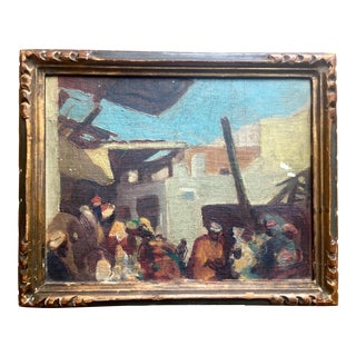 Early 20th Century Antique Middle Eastern Market Scene Oil on Board Painting For Sale
